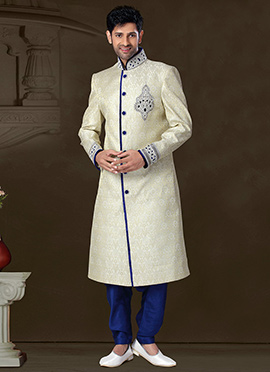 Cream Pure Benarasi Silk Collar Style Sherwani