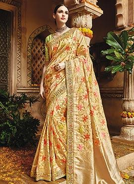Cream Pure Benarasi Silk Saree