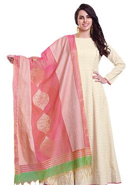 Cream Pure Cotton Anarkali Suit