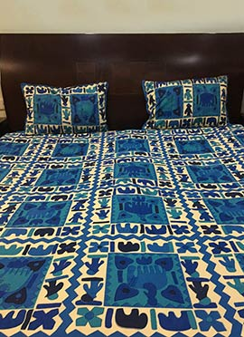 Blue N Cream Pure Cotton Bed Sheet