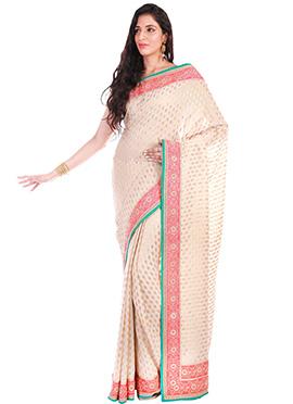 Cream Pure Handloom Benarasi Silk Saree