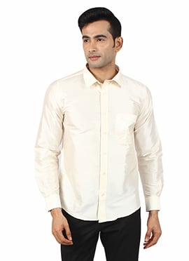 Cream Pure Raw Silk Shirt