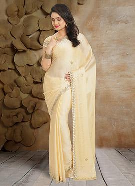 Cream Pure Satin Chiffon Saree
