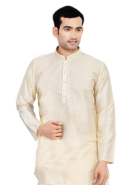 Cream Pure Silk Kurta