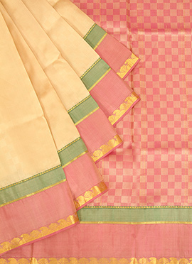 Cream Pure Silk Pothys Saree