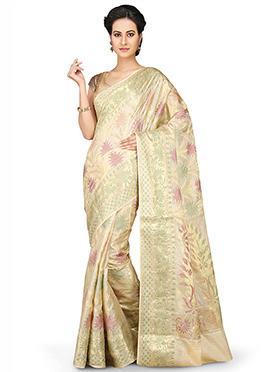Cream Pure Silk Saree