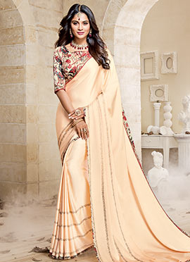 Cream Satin Saree