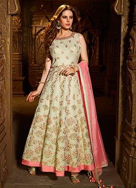 Cream Shimmer Abaya Style Anarkali Suit