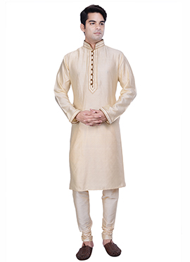 Cream Silk Cotton Jacquard Kurta Pyjama