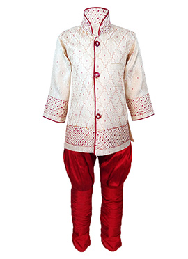 Cream Silk Cotton Kids Kurta Pyjama