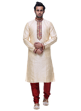 Cream Silk Kurta Pyjama