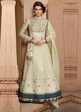 Cream Tussar Silk Anarkali Suit