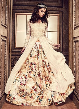 Cream Umbrella Long Choli Lehenga