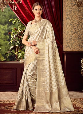 Cream Uppada Art Silk Saree