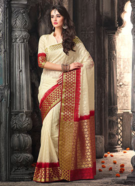Cream Uppada Silk Saree
