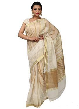 Cream Zari Weaved Geometric Pattered Saree