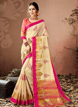 Cream Zari Woven Saree