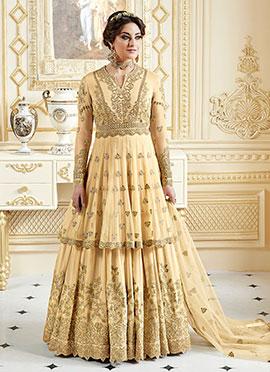 Creamy Yellow Layered Abaya Style Anarkali Suit