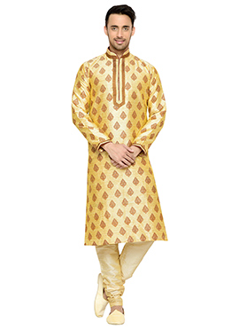 Cremish Yellow Art Silk Kurta Pyjama