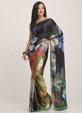 Pure Crepe Printed Multicolored Saree