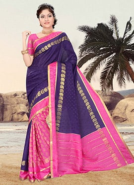 Crepe Zari Weaved Patli Pallu Saree