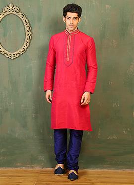 Crimson Pink Art Dupion Silk Kurta Pyjama