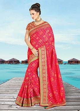 Crimson Pink Art Silk Saree