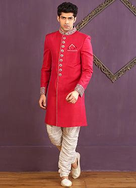 Crimson Pink Breech Style Achkan Sherwani