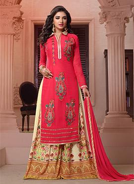 Crimson Pink Georgette Palazzo Suit