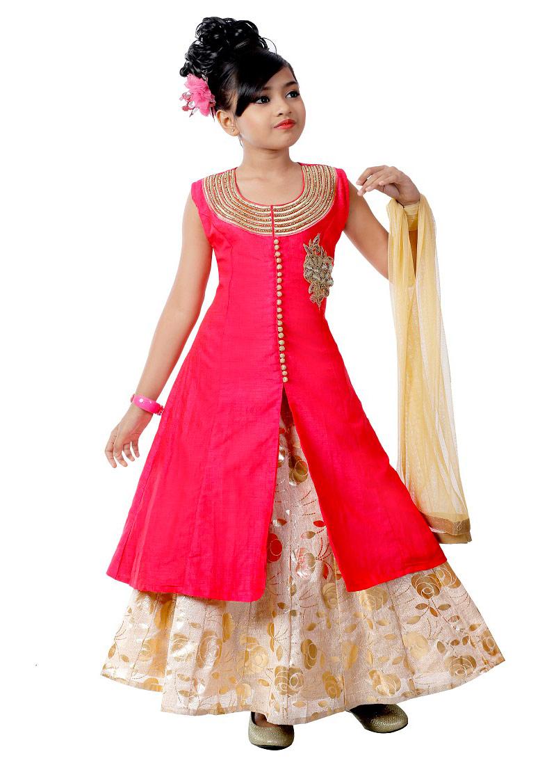 Buy Crimson Pink Kids Long Choli A Line Lehenga Stones