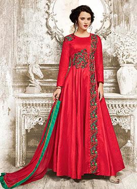 Crimson Red Art Silk Abaya Style Anarkali Suit