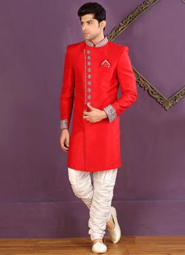 Crimson Red Breech Style Achkan Sherwani
