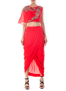 Crimson Red Draped Skirt Set