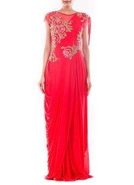 Crimson Red Lycra N Net Saree Gown