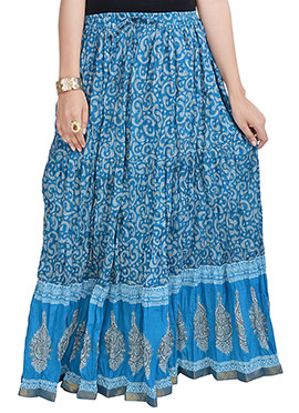 Crushed Cotton Printed Blue Skirt