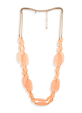 Crystals Studded Peach Color Stylish Necklace