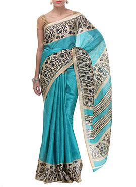 CTC Mall Turquoise Tussar Silk Saree