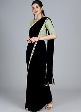 Custom Made Black Saree N Grey Embroidered Blouse