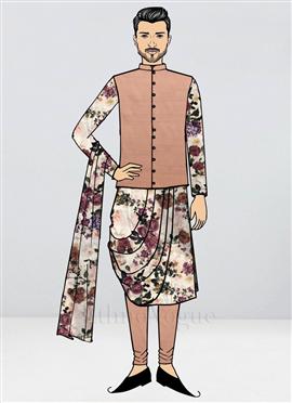 Custom Made Digital Print Cowl Kurta Pyjamas Set