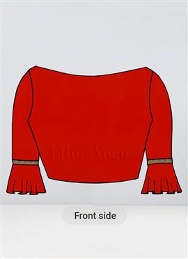 Custom Made Flared Sleeve Red Modal Satin Blouse