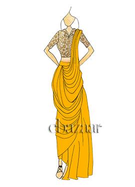 Dandelion Yellow Georgette Pre Draped Saree