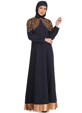 Daneen Navy Blue Polyester Abaya