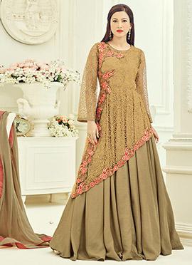 Gauhar khan Dark Beige Abaya Style Anarkali Suit