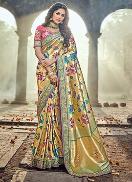 Dark Beige Art Benarasi Silk Saree
