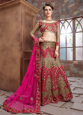 Dark Beige Art Silk A Line Lehenga Choli