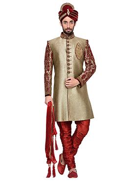 Dark Beige Art Silk Breeches Style Sherwani