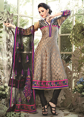 Dark Beige Art Silk Cotton Anarkali Suit