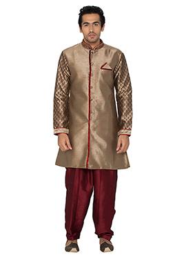 Dark Beige Art Silk Indowestern Kurta Pyjama