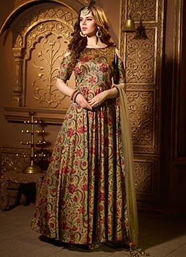Dark Beige Art Silk Net Abaya Style Anarkali Suit