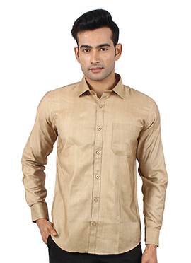 Dark Beige Art Silk Shirt
